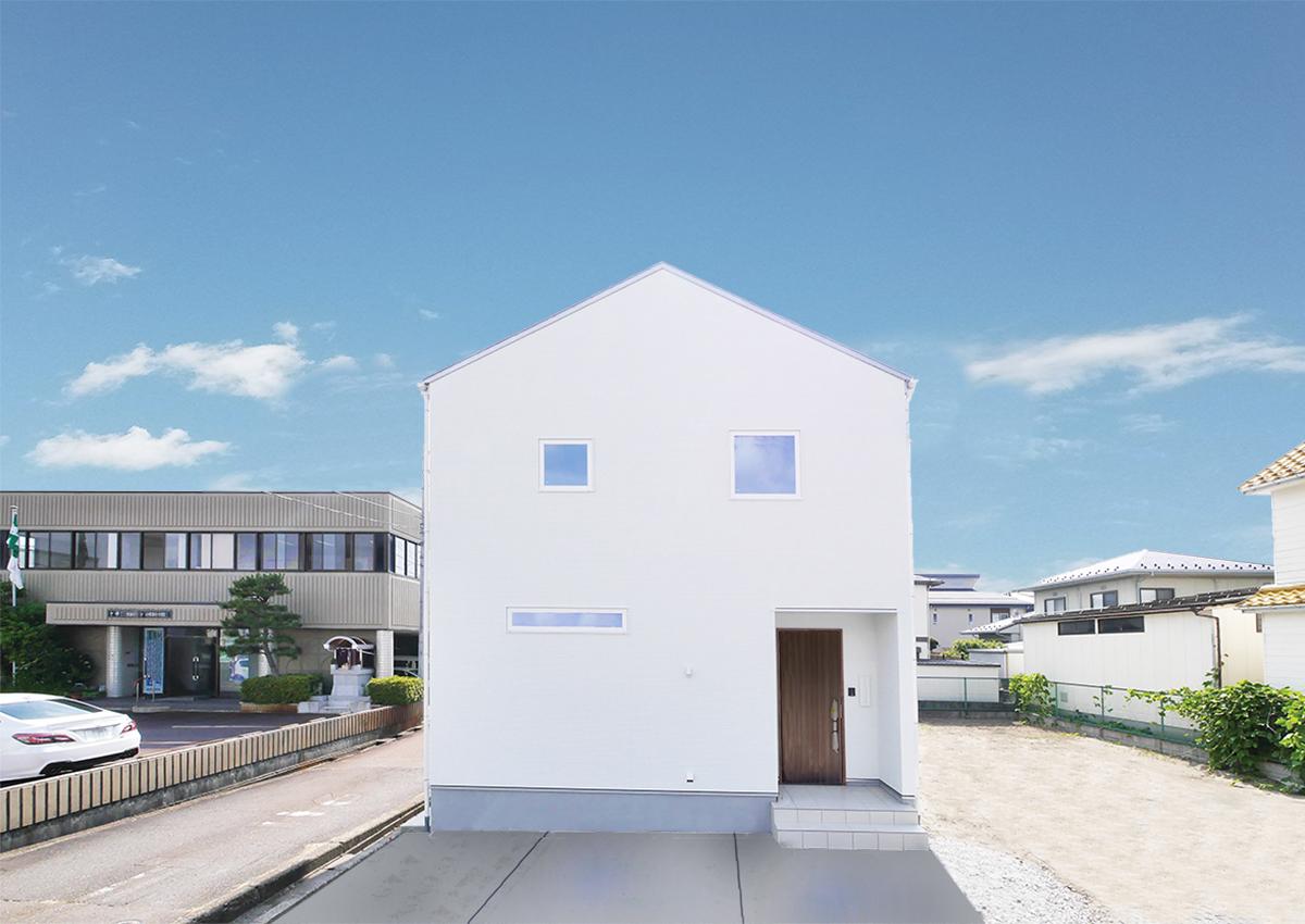 狭小角地とシンプル・北欧インテリアの家。白い三角屋根のお家。
