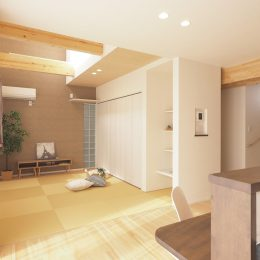 トレーニング室と自然素材と。実家裏の狭小地の家。考えられた配置だから、実家の裏でも光が差し込む。