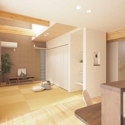 トレーニング室と自然素材と。実家裏の狭小地の家。フローリングとタタミ。天井高さを変える。壁にガラスブロックを入れる。変化を組み合わせて、空間を楽しむ。
