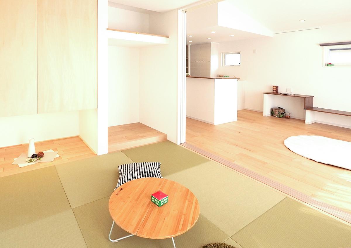 完成見学会「街なか。なかよし。2世帯住宅。」2世帯住宅 親世帯の畳のお部屋