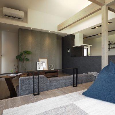 グリーンスタイル新潟上沼モデルハウス「君と、夕暮れの家」リビング誰もいない